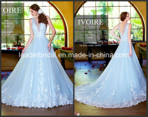 Sheer Ice Blue Bridal Gowns A-Line Tulle Lace Wedding Dresses W2015123 pictures & photos