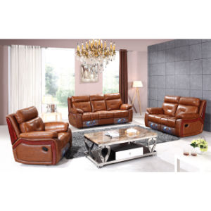 Luxury Wood Trim Italian Leather Recliner Sofa 6041m pictures & photos