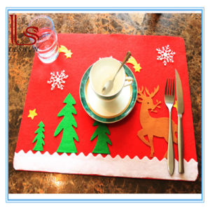 Thickening Christmas Restaurant Hotel Non Woven Table Mat Cup Mat Knife and Fork Mat pictures & photos