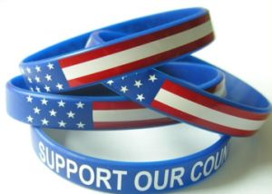Silk Screen Printed Logo Silicone Wristband for Ad Activity pictures & photos