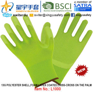 13G Polyester Shell Foam Latex Coated Gloves (L1000) Criss-Cross on The Palm with CE, En388, En420, Work Gloves pictures & photos