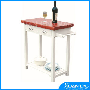 White Classical MDF Kitchen Trolley with Solid Wood Table Top pictures & photos