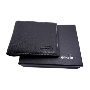 Luxury Business Men Genuine Black NFC Blocking Wallet with Independent Multifunction Compartments Leather Card Holder pictures & photos