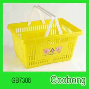 Portable Hand Plastic Supermarket Shopping Flower Basket pictures & photos