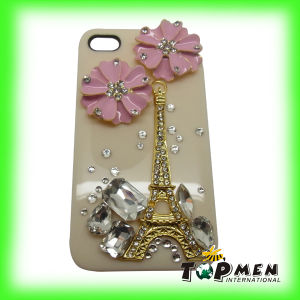 Handmade Diamond Flower Eiffel Tower Candy Hard Case Cover for iPhone 4S