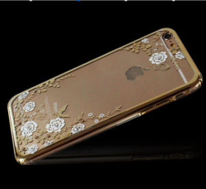 Cheap Price Mobile Phone Accessory Ultra Transparent TPU Case with Luxury Crystal Diamond Gold Housing Back Cover for iPhone 6 6s Plus pictures & photos