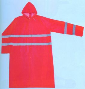 PVC Long Rain Coat with Reflective Tapes pictures & photos