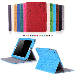 Cute Little Witch Girl′s Leather Smart Cover Magnetic Case for iPad 2/3/4/5/6 pictures & photos