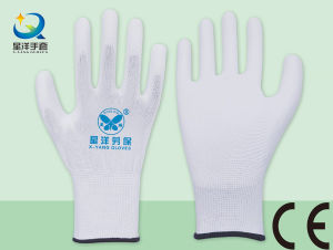 PU001 White Polyester Liner with White PU Coated Safety Gloves pictures & photos