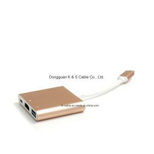 USB-C Adapter Aluminum Alloy to Multi-Port Type C, + 4k HDMI (30Hz) + USB 3.0 Ports pictures & photos