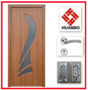 Latest Design Safety Wooden Interior Door with Glass Hb-024