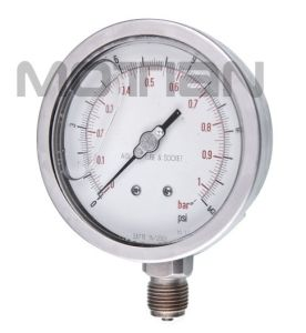 "4"" Glycerine Filled All of Stainless Steel with Screw-in Type Pressure Gauge"