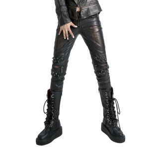 Black and Copper Unisex Sexy Long Leather Pants (K-145/BK-BR) pictures & photos