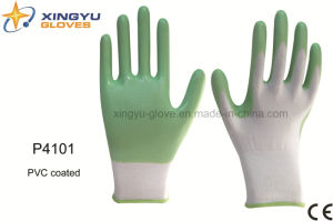 Polyester Shell PVC Coated Safety Work Glove (P4101) pictures & photos