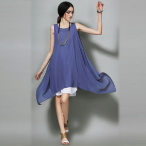 Summer Sleeveless Women Long Chiffon Dress with Good Price pictures & photos