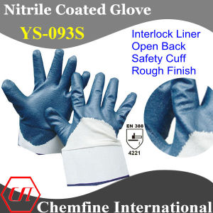 Interlock Glove with Blue Nitrile Rough Coated Palm & Open Back & Safety Cuff/ En388: 4221 (YS-093S) pictures & photos