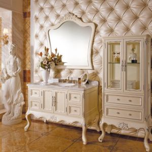 Oppein Luxury Euro Imported Rubber Wooden Bathroom Furniture (OP13-059-117) pictures & photos
