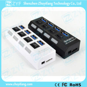 4 Switches 4 Port USB 3.0 Hub with LED (ZYF4116) pictures & photos