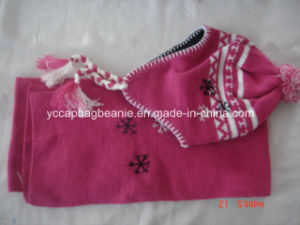 Fancy Wool Children Scarf Set Knitted Crochet Baby Hat pictures & photos