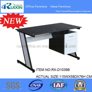 New Design Black Glass & Steel Frame Office Table Furniture with Hanging Pedestal.