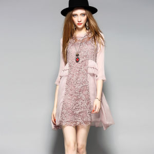 Fashion Floral Pink Women Dress with Falbala for Winter′s Clothes pictures & photos