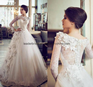 Sheer Lace Ball Gowns Boat Neck Applique Wedding Dresses Z8029 pictures & photos