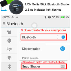 Colorful Built-in Bluetooth Shutter Selfie Stick for Mobile Phone pictures & photos
