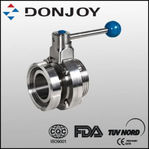 Sanitary Single Thread Single Nut Butterfly Valve with Pull Handle pictures & photos