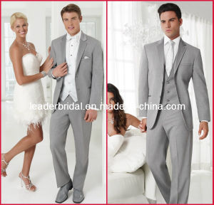 Customized Silver Suits Formal Office Tuxedo for 4 Pieces-Coat+Pants+Vest+Necktie Suit Mc10 pictures & photos