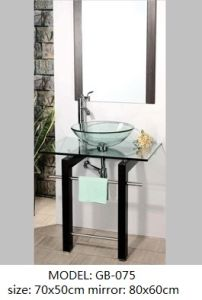Transparent Glass Bowl Vanity with Silver Mirror