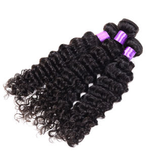 Peruvian Virgin Hair Human Hair Deep Wave Natural King Unprocessed Virgin Peruvian Hair 3bundles 7A Deep Curly Virgin Hair Weave pictures & photos