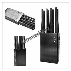 Outdoor/Car/Indoor Omni-Directional Cellular Phone Signal Jammer; 33dBm 8band Blocker up to 20meters; Handheld 8 Antenna Signal Jammer pictures & photos