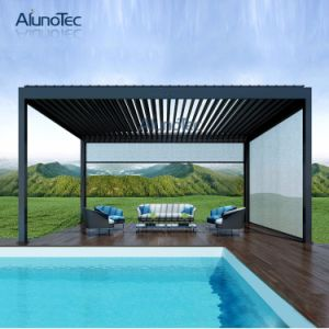 Outdoor Aluminum Rainproof Louver Blade Pergola with Side Blind pictures & photos