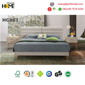 Modern Style Wood and Fabric Headboard King Bed (HC863) pictures & photos