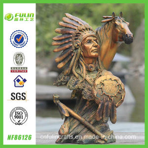 Resin Bronze Indian and Horse Antique Ornament (NF86126)