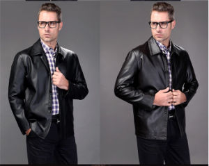 Men′s PU Leather Jacket pictures & photos
