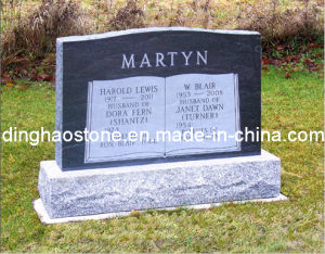 Traditional Style Black Granite Headstone (DH-T076)