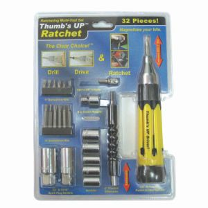 Thumb′s UP Clear Choice Ratchet 32 Piece Kit Screwdriver (TUD610ABRCPKC)