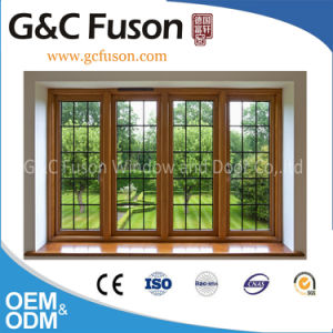 Yellow Sandal Wood Grain Friendly Environment Aluminium Window pictures & photos