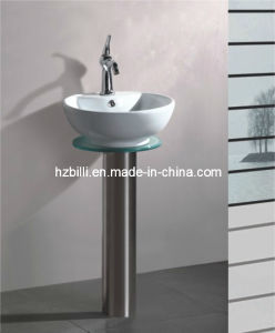 Round Ceramic Basin Stainless Steel Stand Bathroom Cabinet