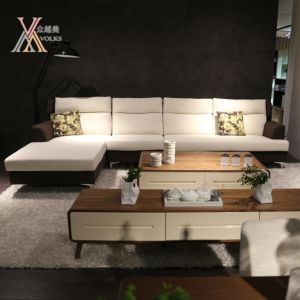 Living Room White and Brown Fabric Sofa (998#) pictures & photos
