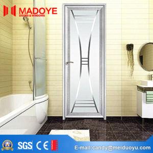 Wooden Grain Aluminum Building Material Bathroom Door with Hollow Glass pictures & photos