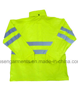 Fluorescent Yellow Adult′s 100% PU Waterproof High Visibility Safety Jacket Protective Apparel pictures & photos