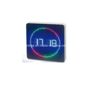 Electric Digital 24 Hour Time Format Colorful Circle LED Wall Clock pictures & photos