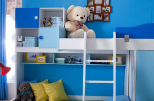 Solid Wooden Kids Bedroom Bunk Bed with Wardrobe (805) pictures & photos
