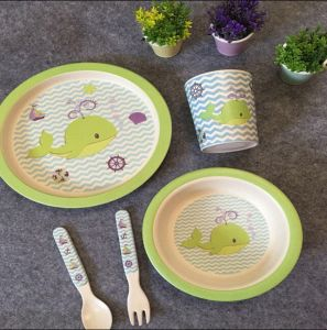 BSCI Audit Natural Bamboo Fiber Kids Dinner Set (YK-KS0121) pictures & photos