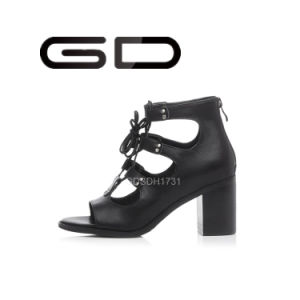 Custom Mad Quality Leather Women Black Sandals pictures & photos