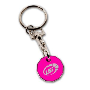 Coloring Logo Debossed Double Metal Trolley Coin Key Chain pictures & photos