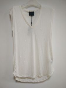 Women′s T-Shirt for Lady, White, Sleeveless, V Neck pictures & photos