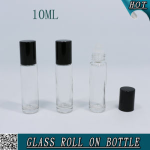 Clear Glass Roll on Bottle with Glass Balls and Black Aluminium Caps pictures & photos